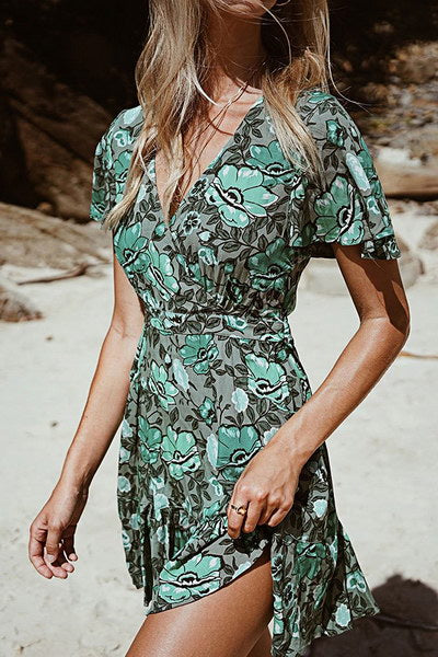 green-butterfly-sleeve-v-neck-short-girly-floral-print-tea-dress