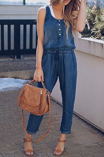 Blue Sleeveless Overalls