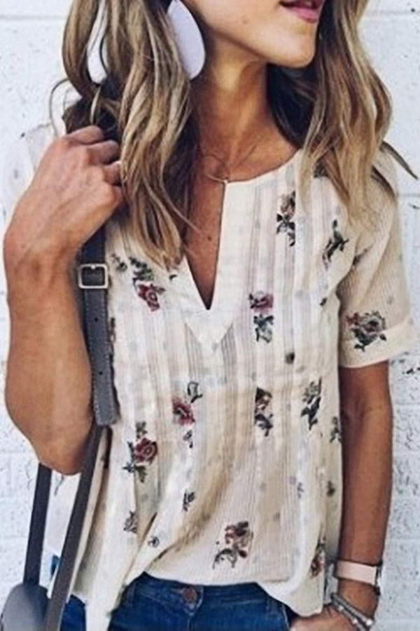 V Neck Flower Top