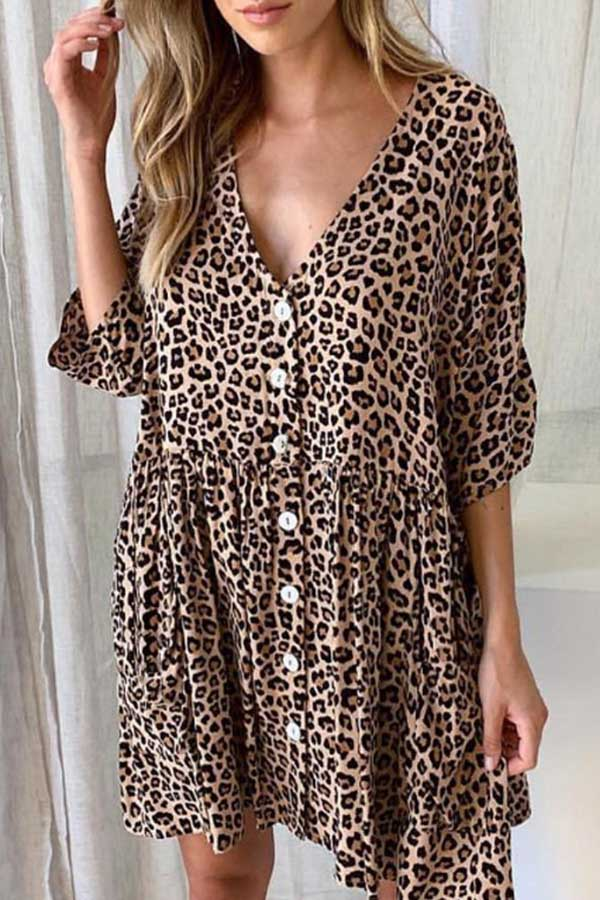 Drop Waist Leopard Dress
