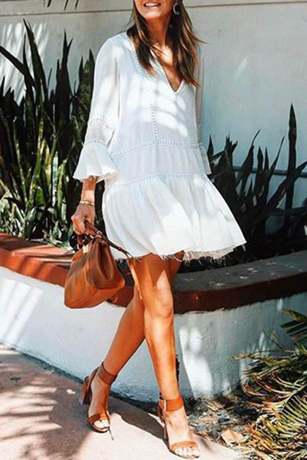 Tiered White Sun Dress