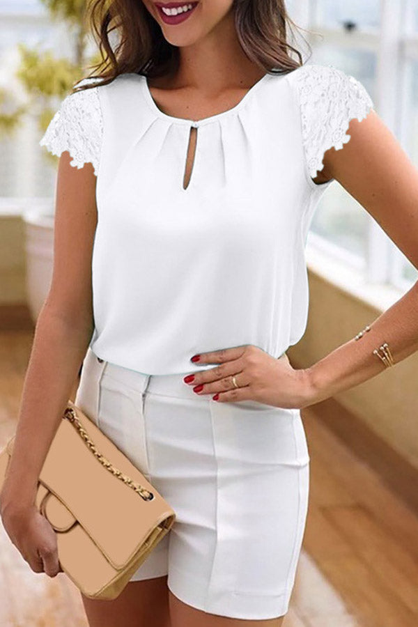 Lace Cap Sleeve Blouse