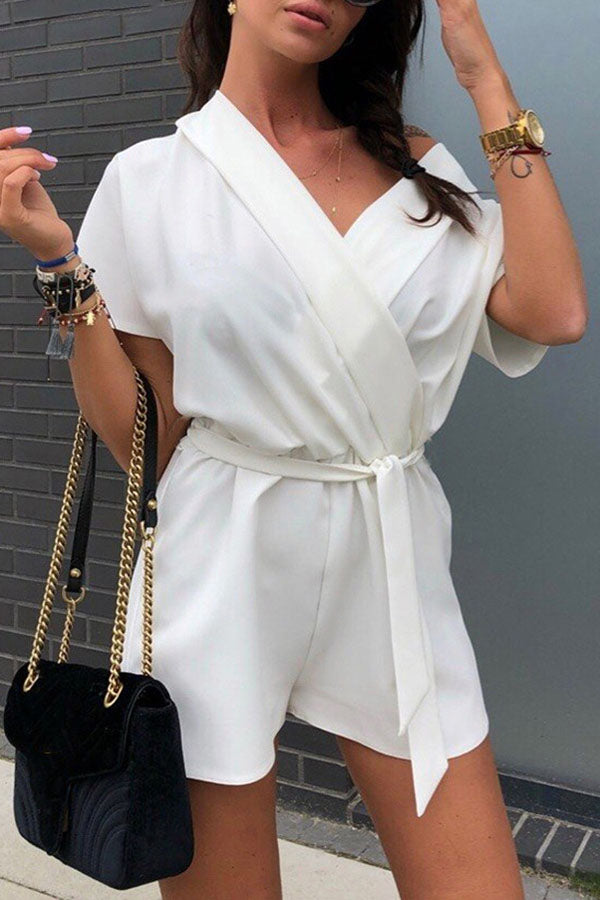 Wide V Neck Playsuit