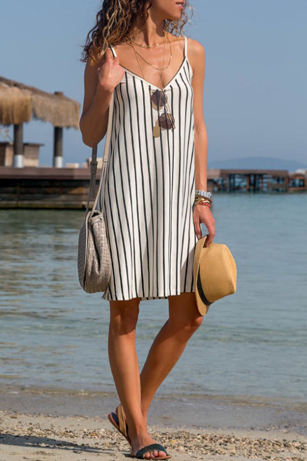 Vertical Striped Sling Sexy Loose Dress