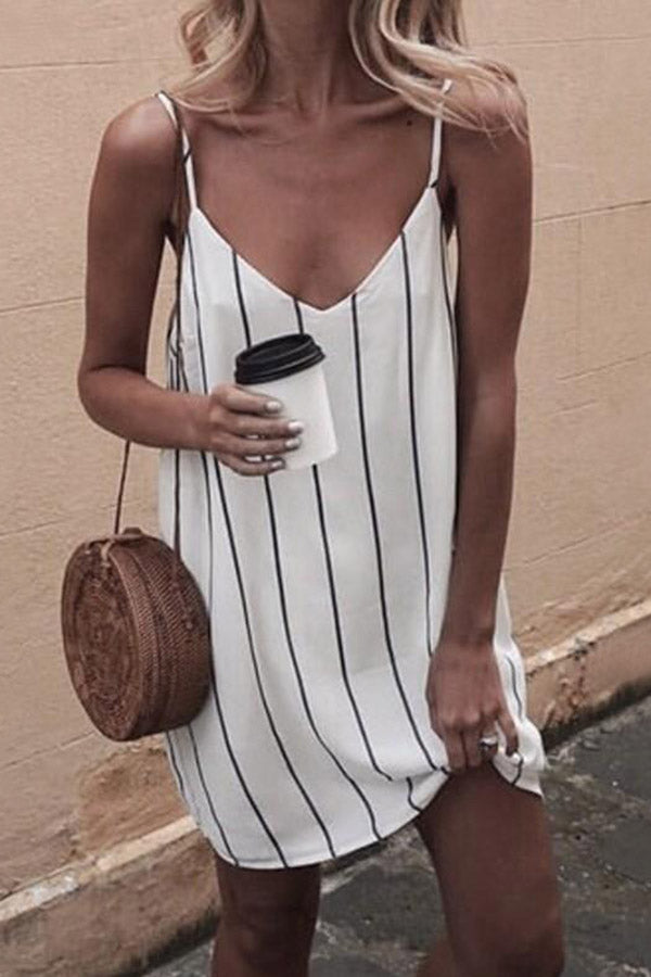 Slim Striped Sling Sexy Loose Dress
