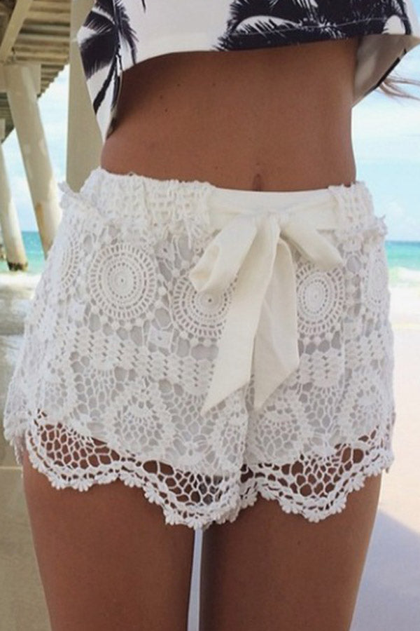 Lace Strappy Beach Shorts