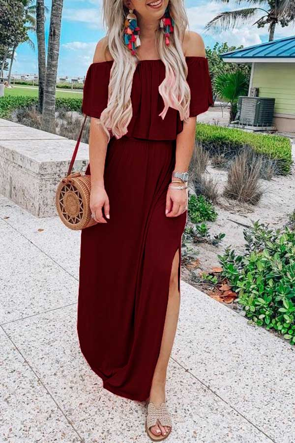 Off Shoulder Solid-color Open-forked Dress