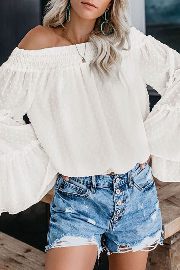 Off Shoulder Print Wide Sleeve Top