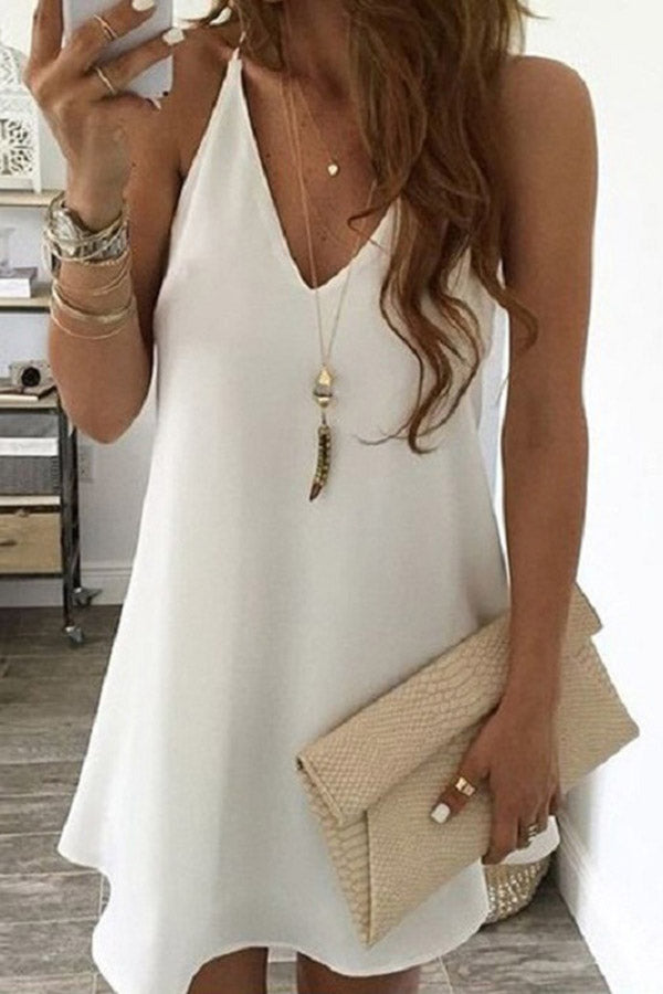 Solid Color V-Neck Sling Dress