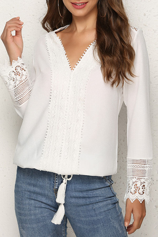 Fringed Lace Splicing Lace-Up Top