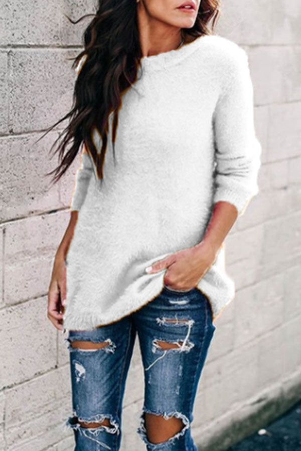 Solid Color Knitted Pullover Sweater