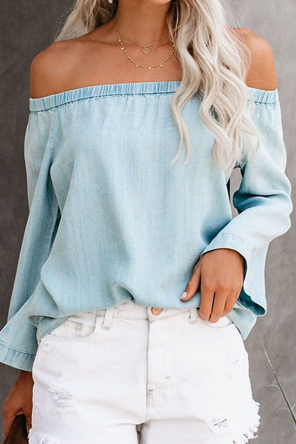Off Shoulders Long-Sleeve Jean Shirt