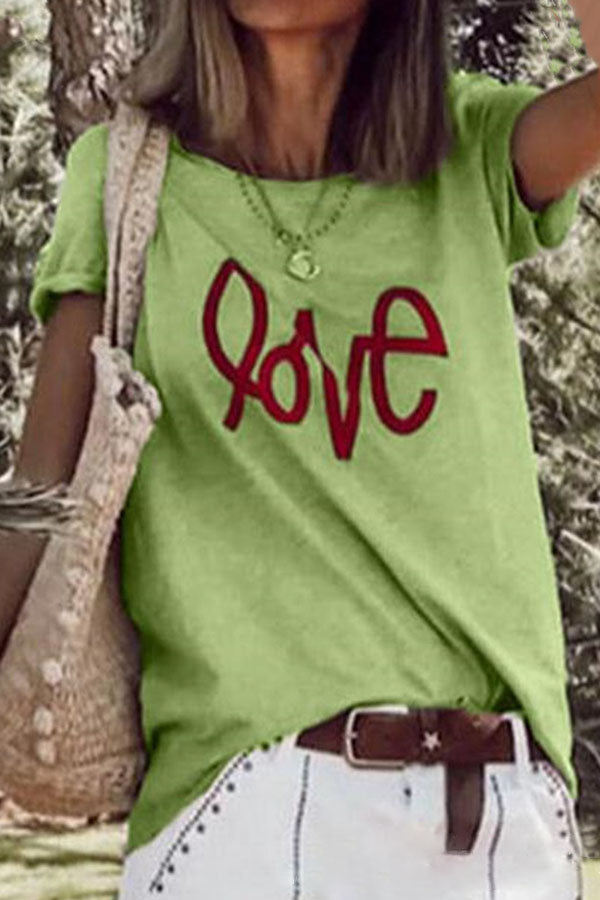 Letter Printed Loose T-Shirt