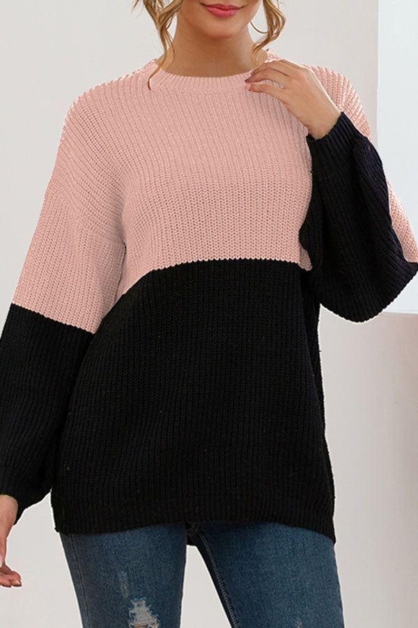 Splicing Color Collision Loose Knitted Sweater