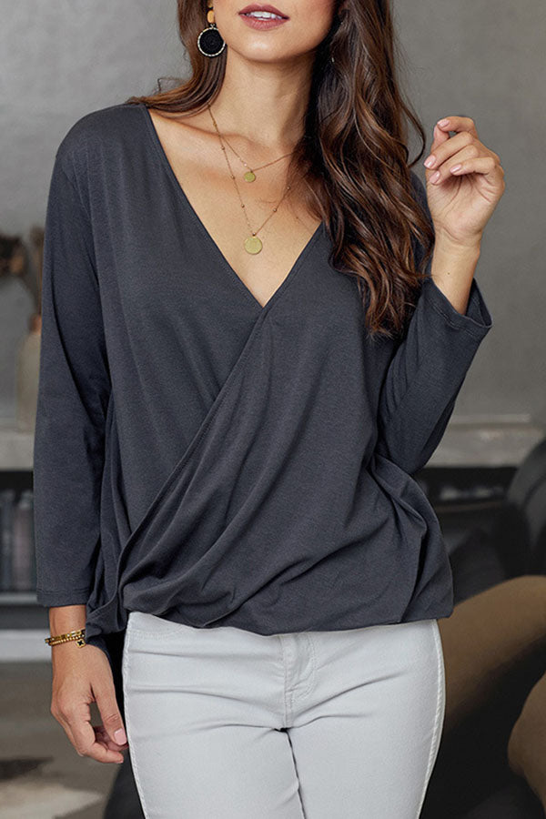 Solid Color V-Collar Pleated Top