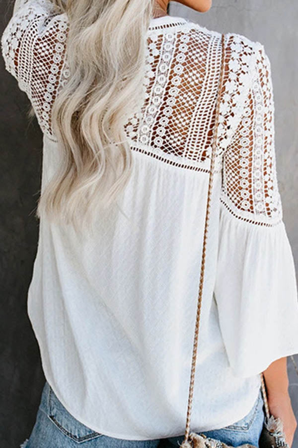 V-Neck Hollow Perspective Top