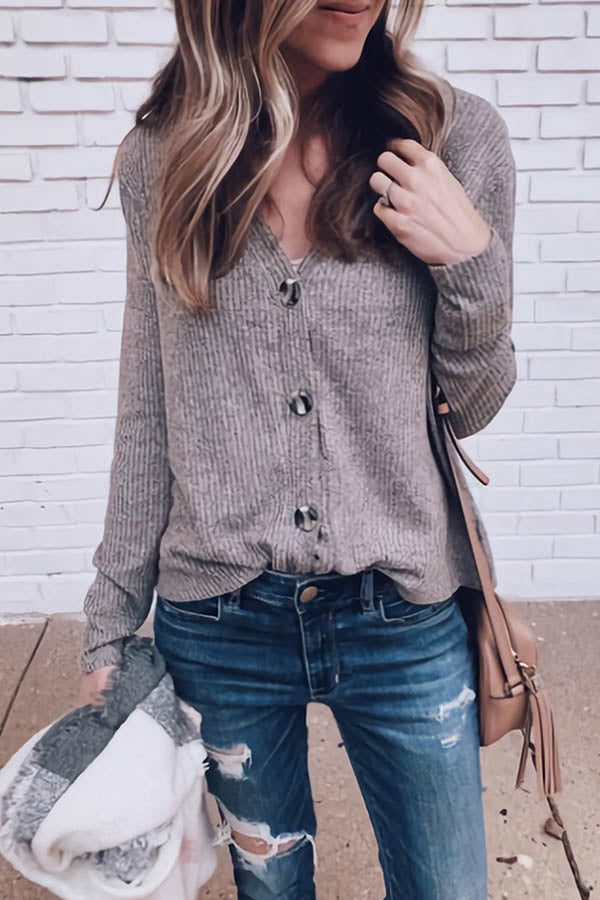 V-Collar Button Long Sleeve Knitted Top