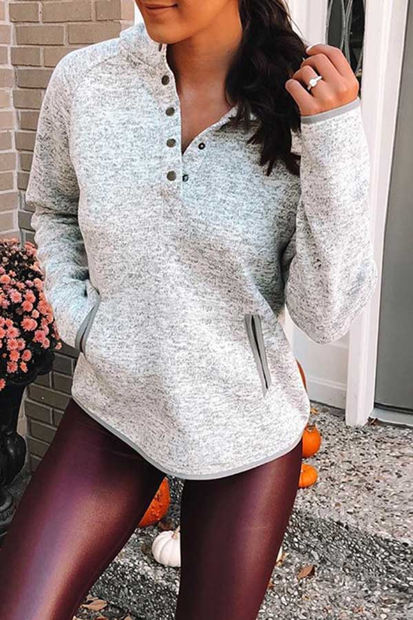 Button Pocket Long Sleeve Top