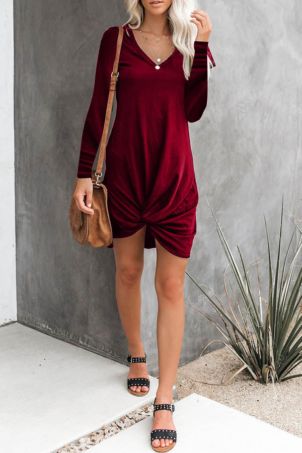 Solid Color V-Neck Hem Knoted Dress