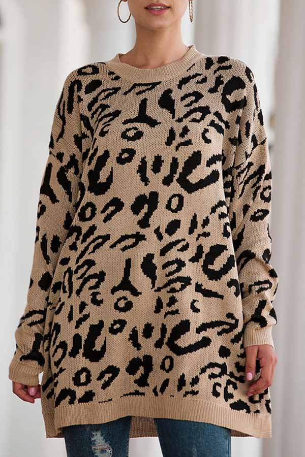 Loose Leopard-Print Sweater