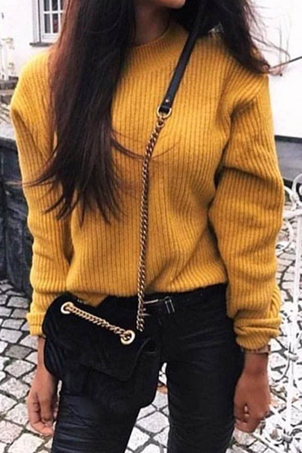 Solid Colour Long Sleeve Knitted Sweater