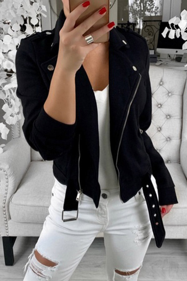 Lapel Zipper Jacket Coat