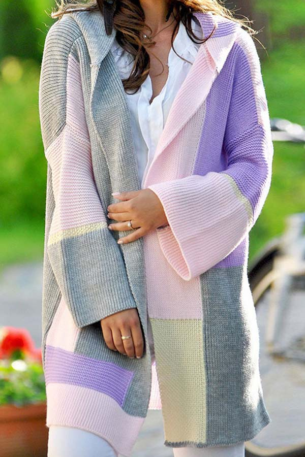 Hooded Collision Color Loose Cardigan