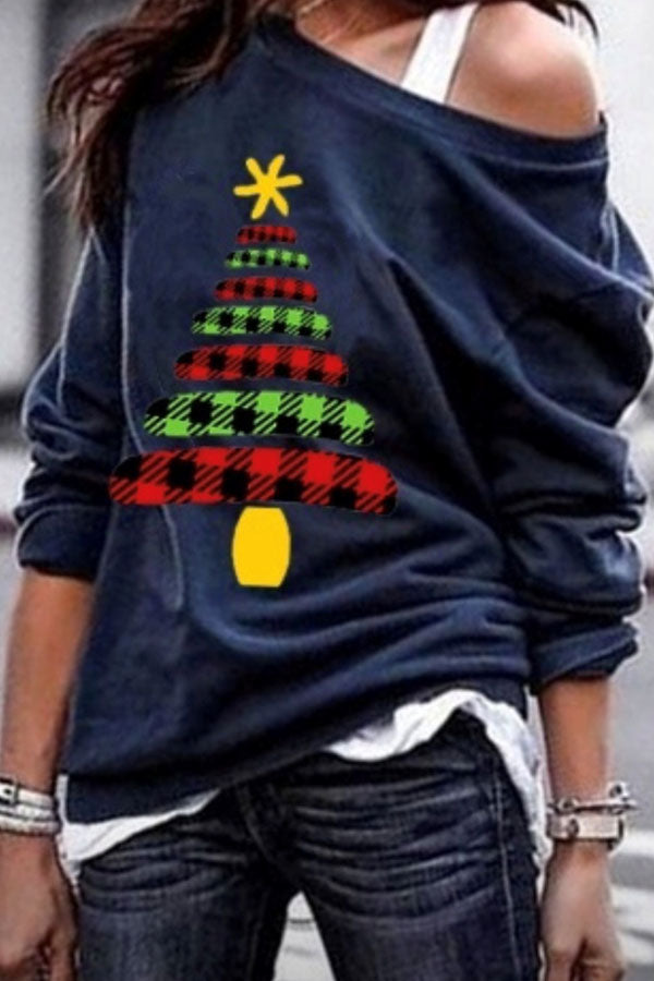 Christmas Tree Print Oblique Collar T-Shirt