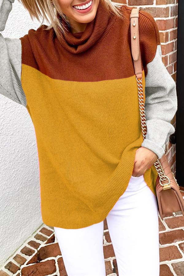 High Neck Panel Long Sleeve Sweater
