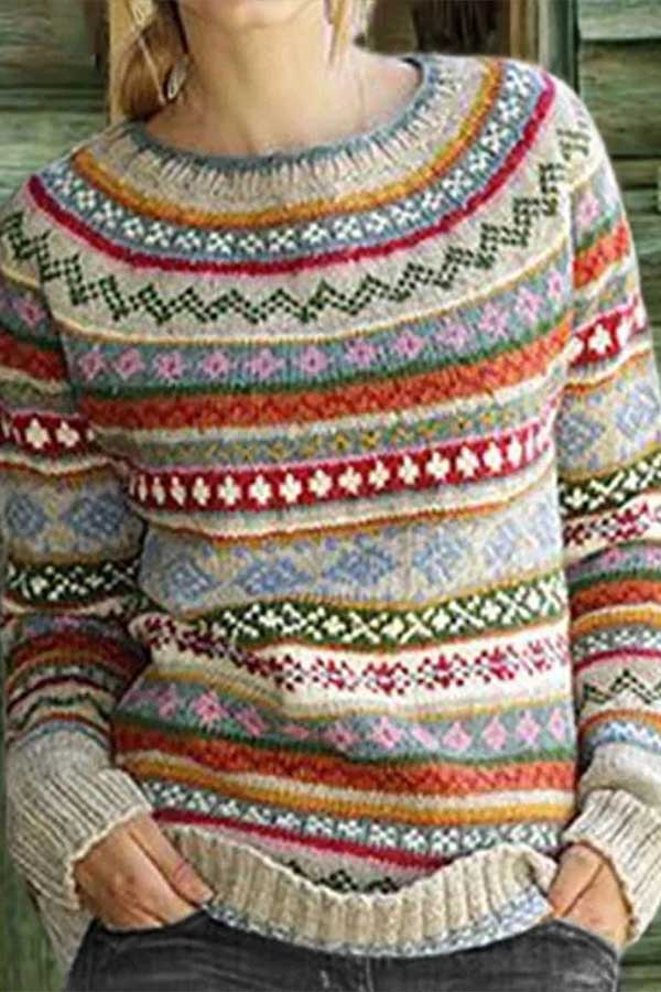 Round Color Print Sweater