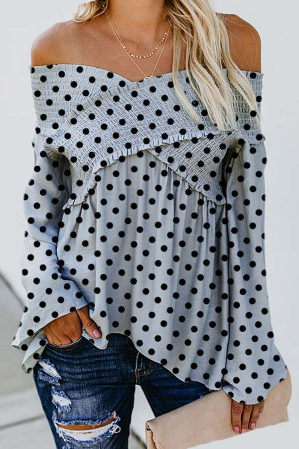 Flat Shoulder Ruffle Dot Print Top
