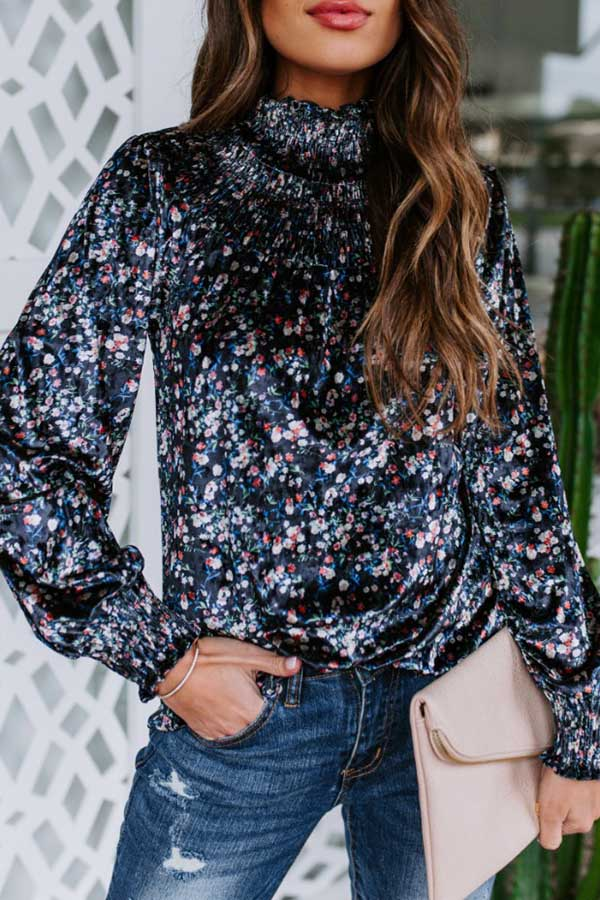 Printed High Collar Sequin Top