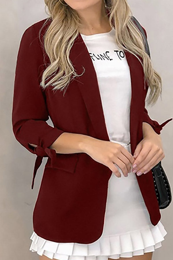 Solid Color Lace-Up Sleeve Blazer