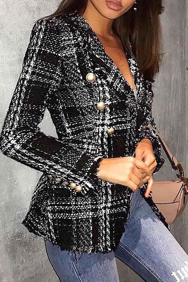 Fitted Plaid Button Coat