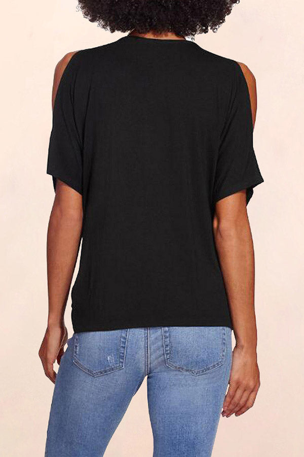 Draped Cold Shoulder Tee