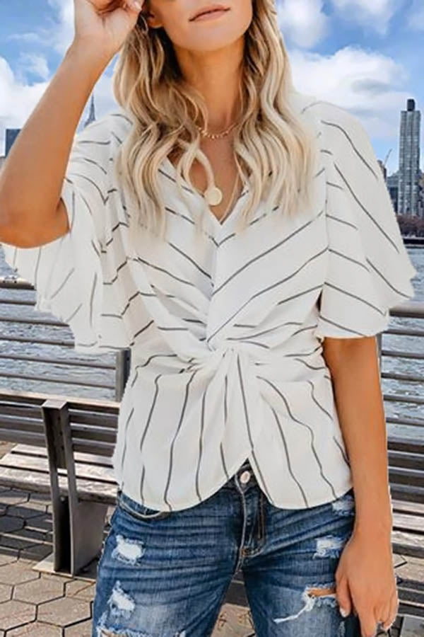 V-Neck Twisted Bat Sleeve Top