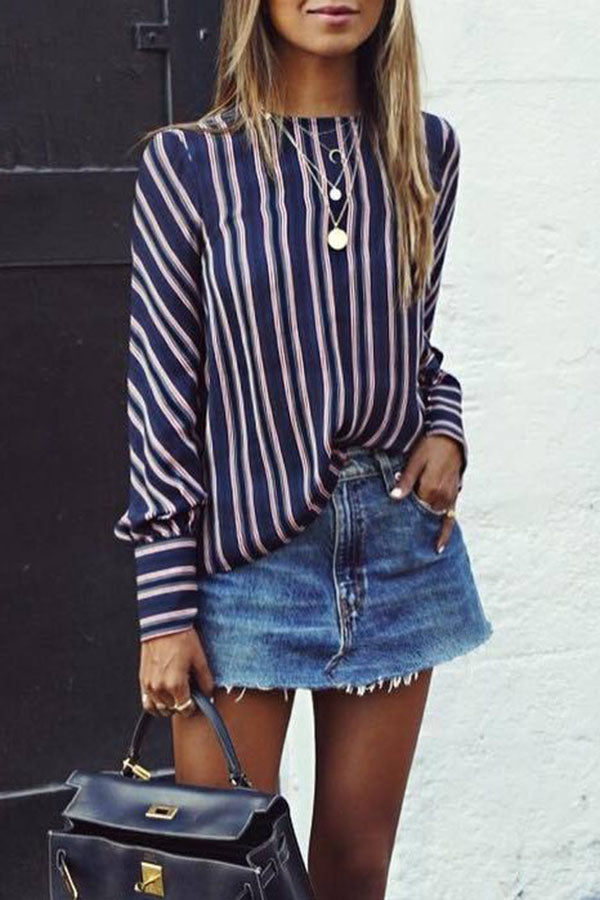 Striped Long-Sleev Top