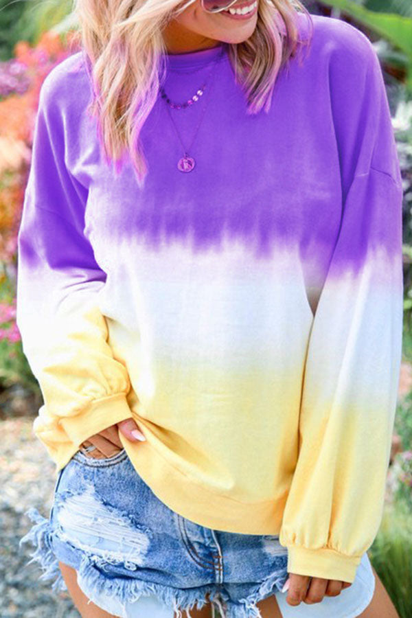 Long Sleeve Gradual Printed T-Shirt