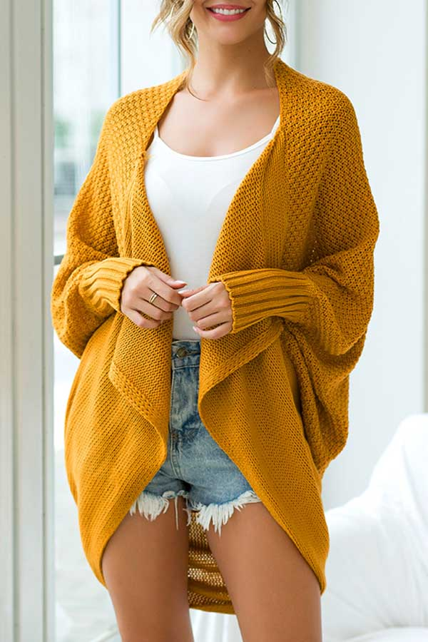 Solid Color Bat Sleeve Knitted Shrug