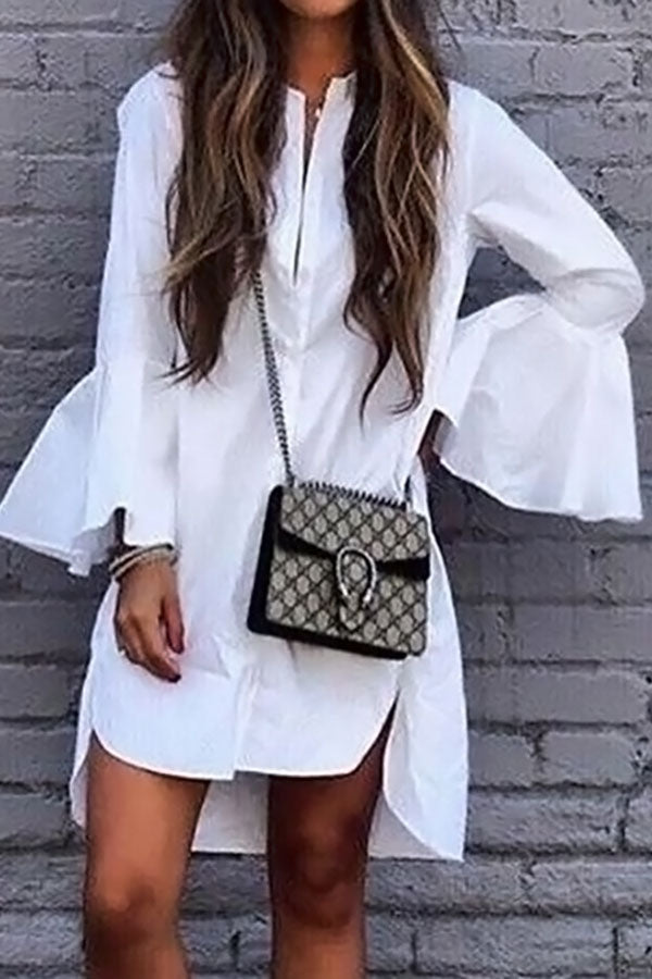 Bell Sleeve Hem Irregular Shirt Dress
