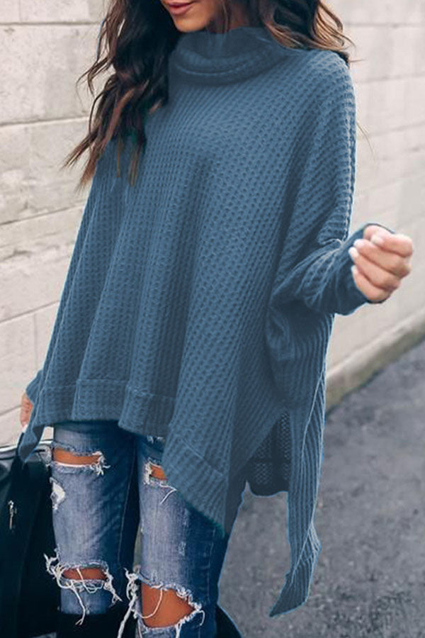 High Collar Long Sleeve Irregular Top