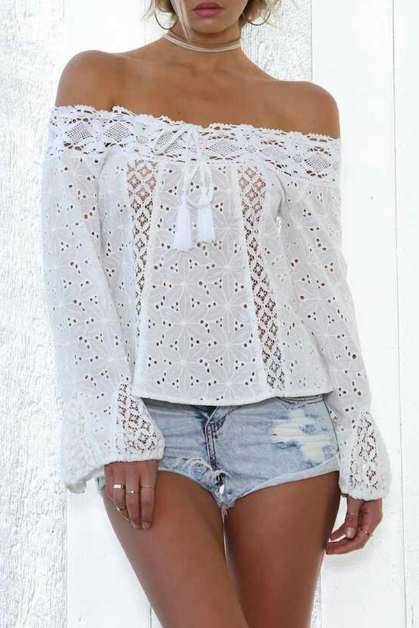 Off Shoulder Trumpet Sleeve Lace Top