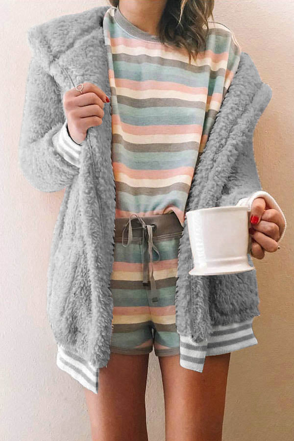 Furry Long Sleeve Pocket Coat