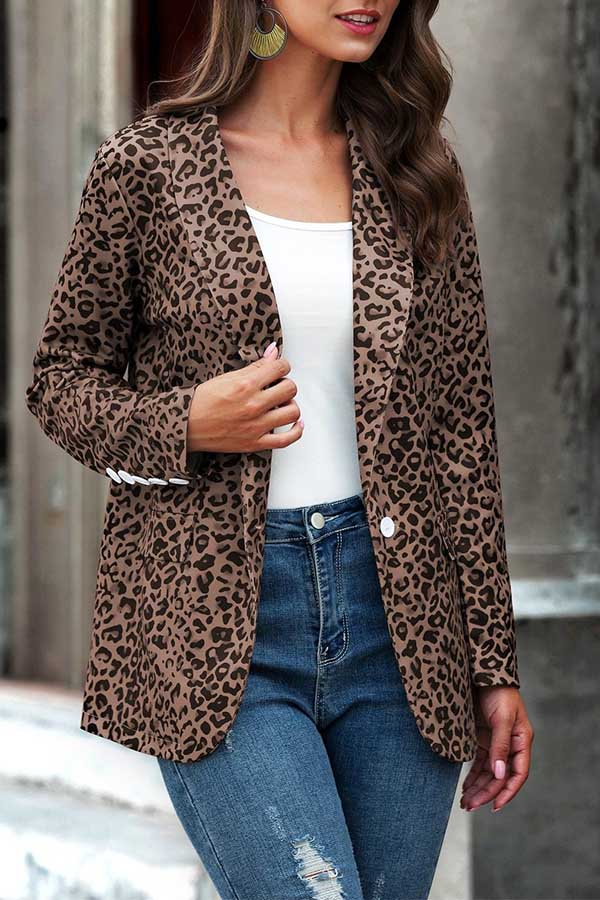 Leopard Print Long Sleeve Lapel Blazer