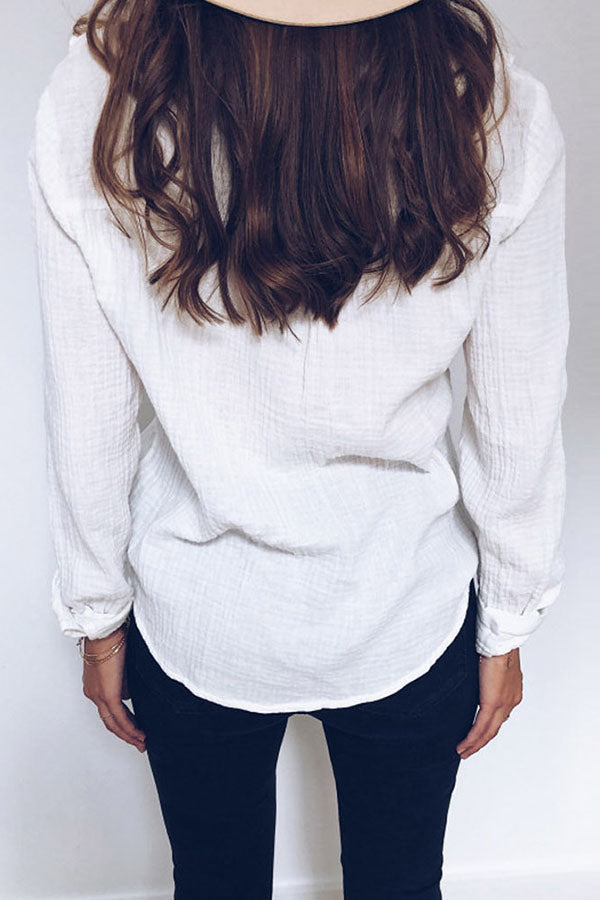 Solid Color Lace Long Sleeve Shirt