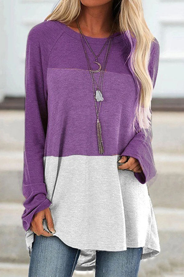 Collision Color Round Neck Pullover T-Shirt