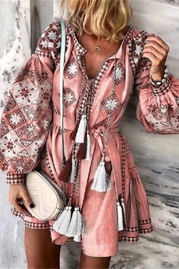 Printed V-Neck Long Sleeve Lace Up Fringe Dress