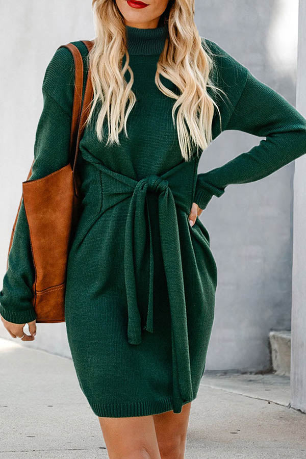 Solid Color High Neck Lace Up Sweater Dress