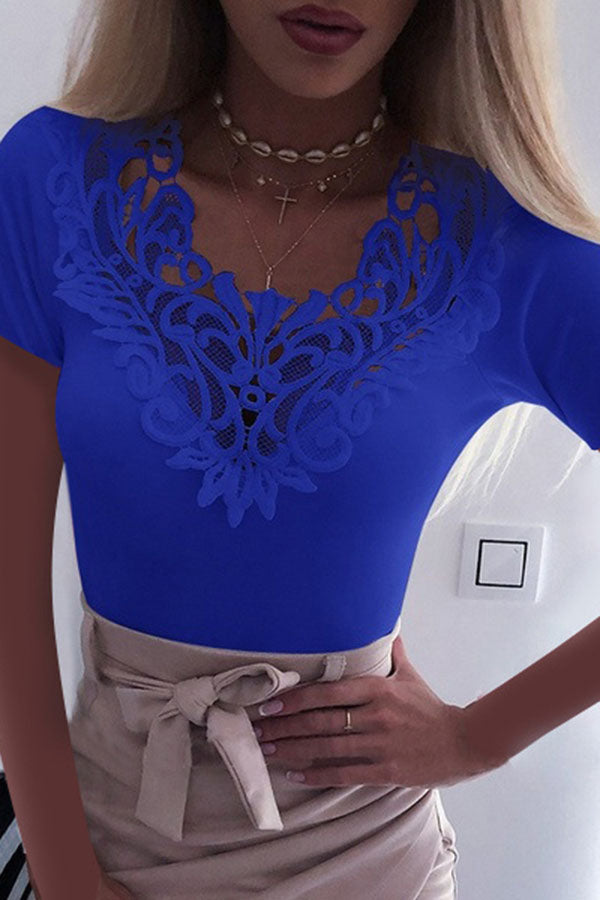 Solid Color Lace V-Neck Cutout Top