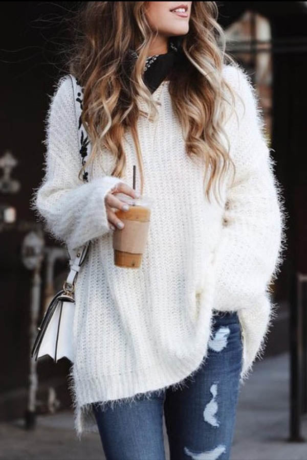 Solid Color Irregular Loose Sweater